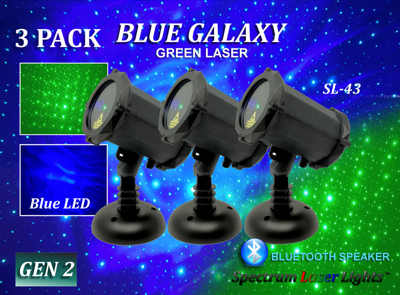 SL-43 - 3 Pack - Blue Galaxy | Green Laser Christmas Light with Bluetooth Speaker - 2nd GEN v2