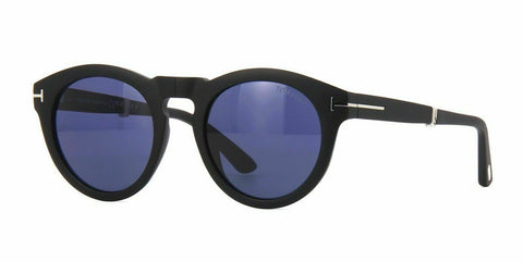 Tom Ford Sunglasses Carter-02 FT0627 02V 50MM Folding Matte Black / Blue Lens