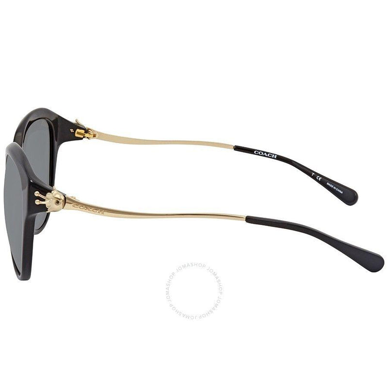 Coach Sunglass Cat Eye Style Grey Lens | Women Sunglass Black/Light Gold Frame HC8189F 530887 55mm