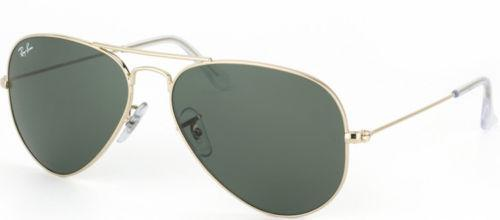 Ray-Ban Unisex Aviator Sunglasses RB3044 L0207 Gold Frame Green Lens