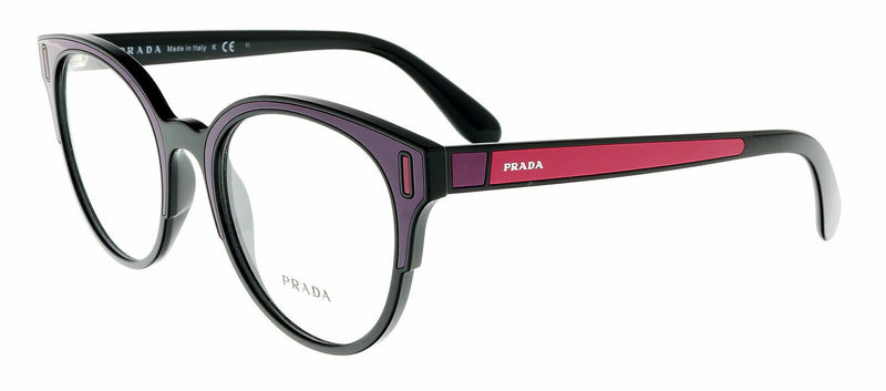 Prada Eyeglass - Round style PR08UV SSA1O1 52 Black/Bordeaux/Fuxia with Demo Lens