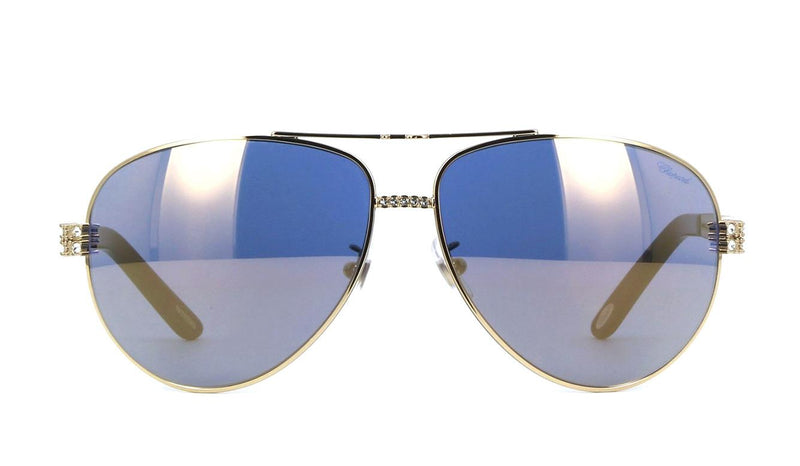 Chopard Sunglasses New Aviator Gold Bling Blue Mirror SCH B24S 301G 63 13 125