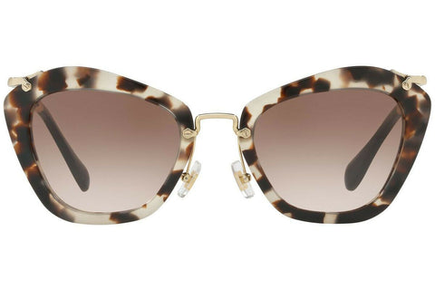 New Miu MIu Sunglasses MU10NS UAO0A6 55 Opal Ivory Havana Brown Lens