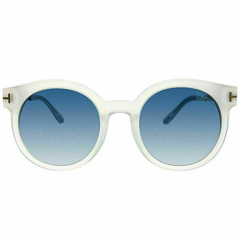 Tom Ford TF 475 D 21X Matte Transparent Plastic Sunglasses Blue Gradient Lens
