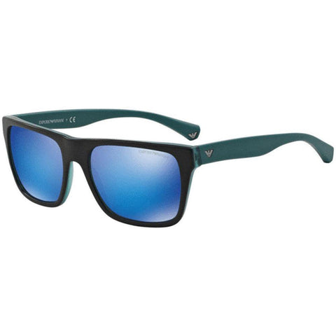 Emporio Armani Sunglasses Men Square Frame Green/Light Blue Mirror Lens