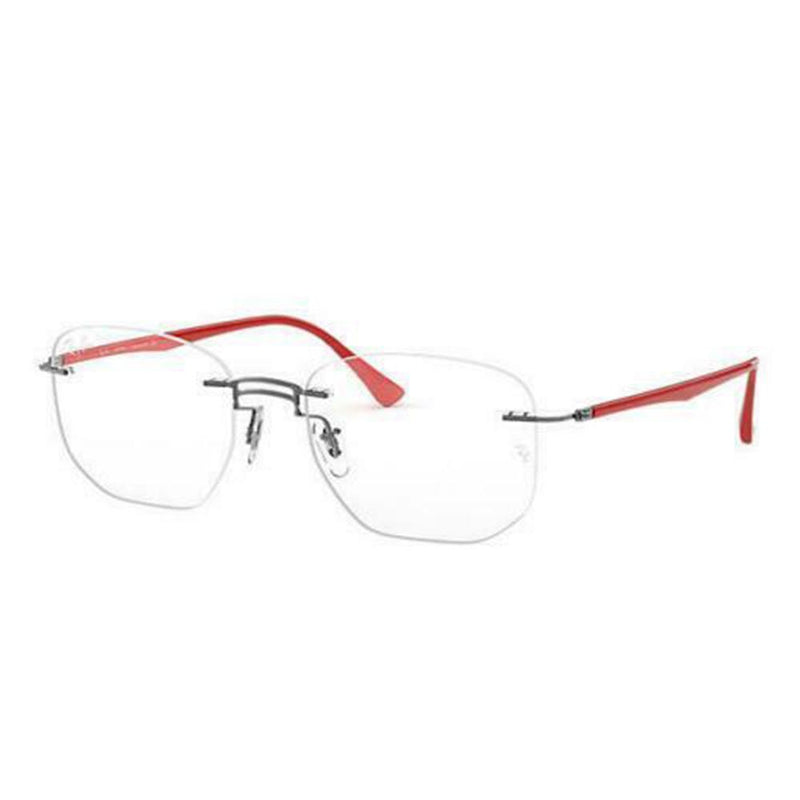 Ray-Ban Eyeglass - Square Style Gunmetal Red Color Men Eyeglass RX8757 1192 51