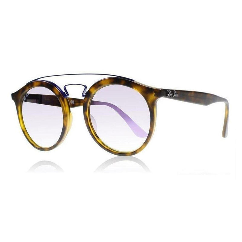 Ray-Ban Sunglass Round Style Matte Havana Color Lilac Lens- RB4256 6266B0 49