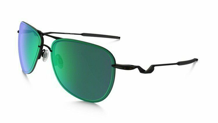 Oakley Men's Tailpin OO4086-02 Aviator Sunglasses Satin Black/Jade Iridium Lens