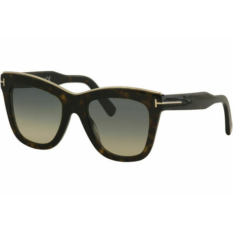 Tom Ford Women's Julie TF685 TF/685 52P Shiny Dark Havana Square Sunglasses 52mm