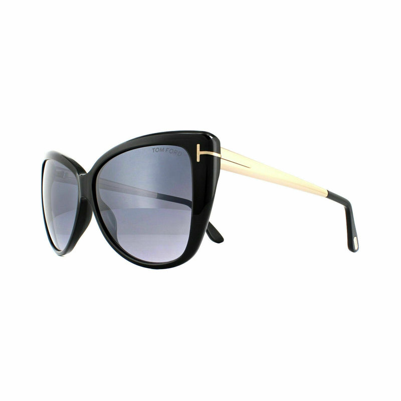 Tom Ford sunglass cat eye style shiny black color - Reveka smoke mirrored lens FT0512 01C 59mm