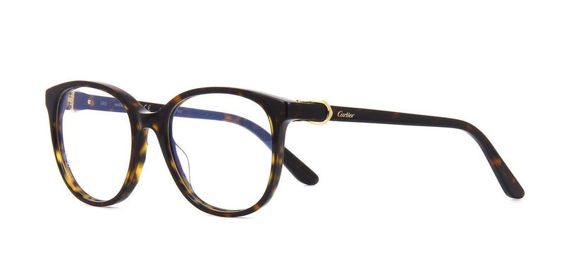 Cartier Eyeglass - CT0007O 002 52MM Round Style Signature C DE Model Eyeglass