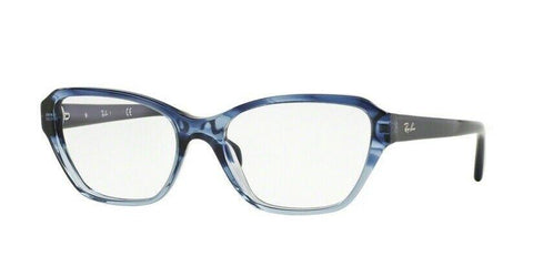 Ray Ban Square Style Striped Blue Gradient Eyeglasses W/Demo Lens