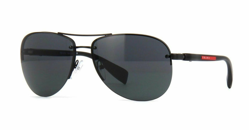 Prada Sunglass - SPS56MS 1BO1A1 62MM Linea Rossa Aviator Style Shiny Black Color Sunglass