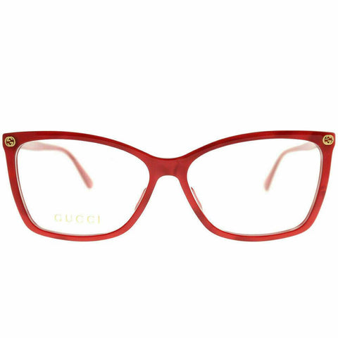 Gucci Eyewear Optical Frame GG0025O 004 Red Plastic Rectangle Eyeglasses 56mm