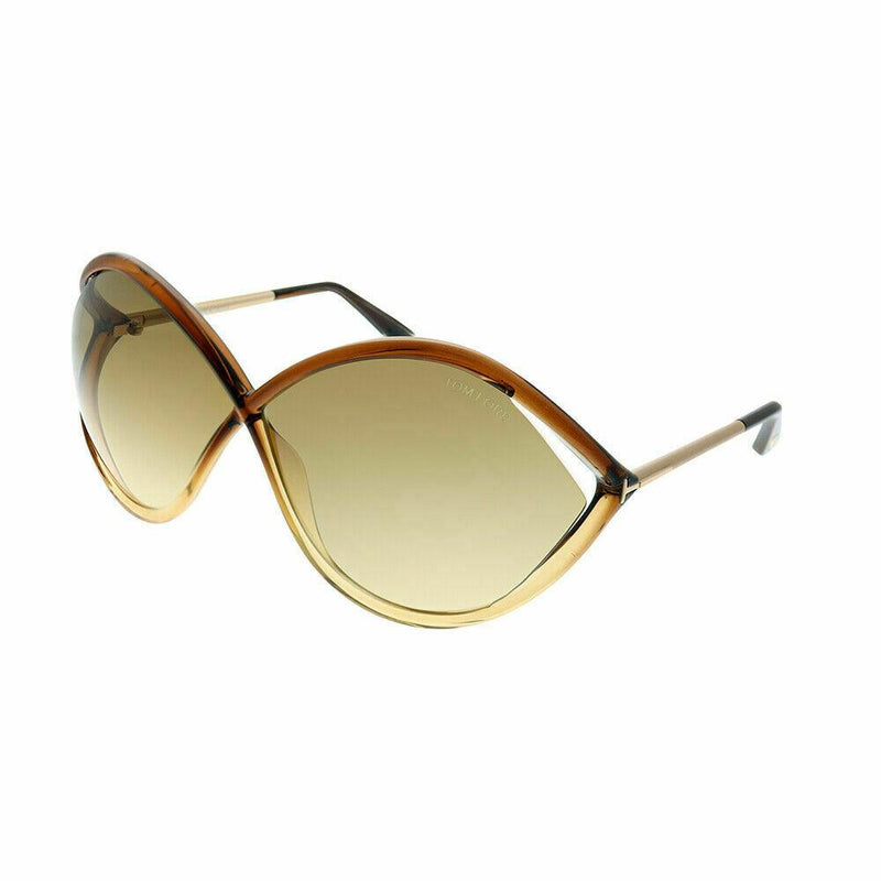 Tom Ford sunglass oversize style dark brown frame color - Liora gradient lens FT 0528 50F 70mm