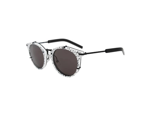 Christian Dior Sunglass Round style with Black & White Splotched Frame - Dior 0196S TCBY1