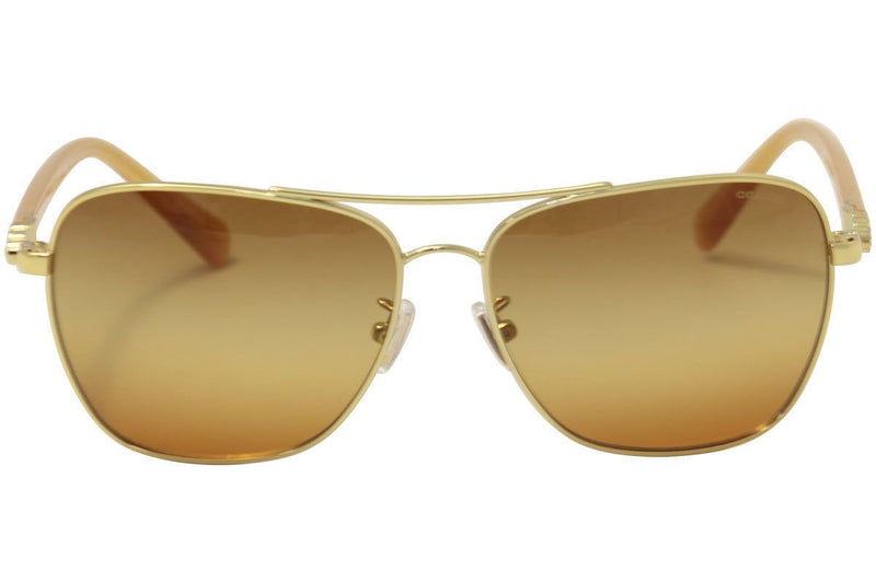 Coach sunglass square style brown/orange gradient lens | Women sunglass gold frame HC7073B 9305W8 59mm