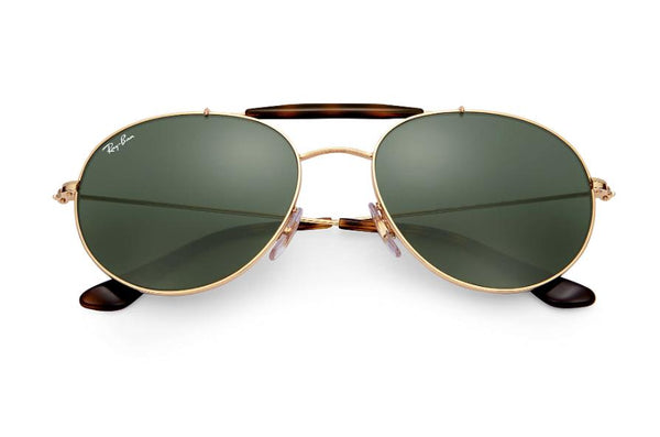 Ray Ban Sunglasses RB3540 001 56 Gold ROUND AVIATOR Sunglasses, Classic Green