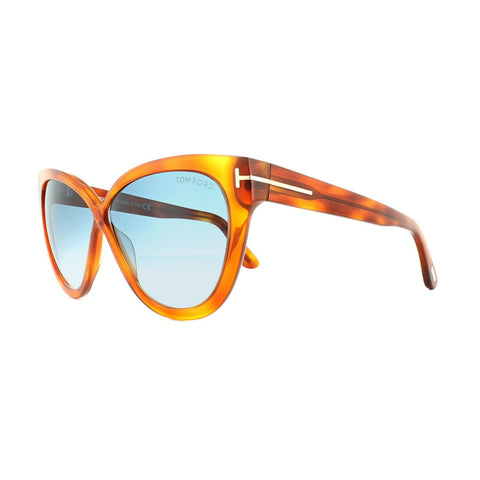 Tom Ford Women Cat Eye Sunglasses TF0511 53W Havana Frame Blue Gradient Lens