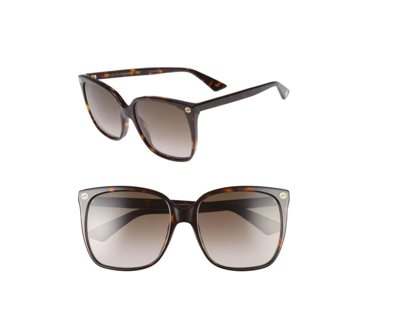 New Gucci Authenitc GG0022S 003 Havana Brown Gold Sunglasses 57-14-140 Fast Ship