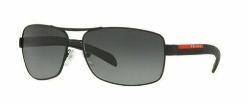 Prada Sunglass - PS54IS DG05W1 65MM Rectangular Style Black Rubber Color Sunglass