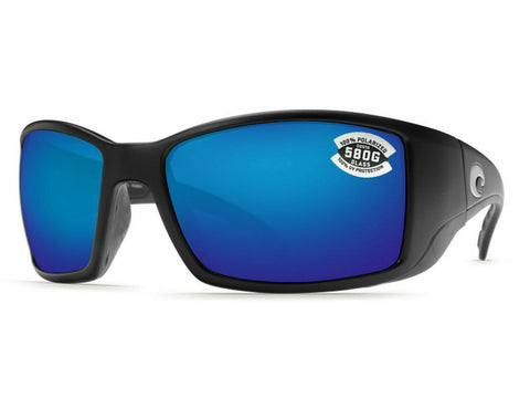 Costa Del Mar Blackfin Matte Black / Blue Mirror 580 Glass 580G BL-11-OBMGLP