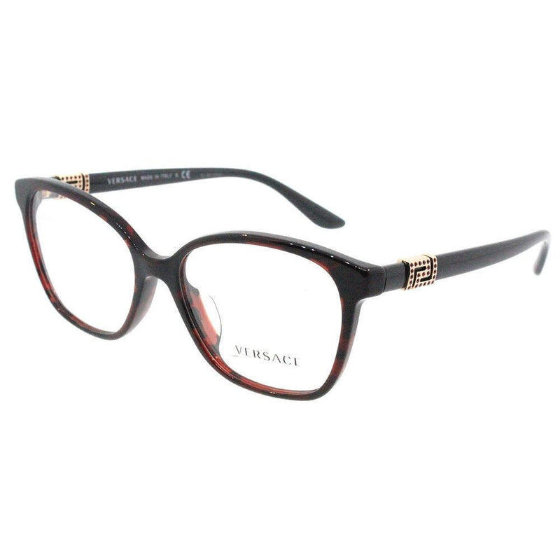 Versace Eyeglass Square Style Demo Lens - Women Eyeglass Red Havana Frame VE3235BA 989