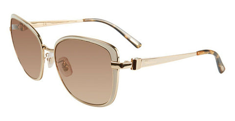 Chopard Sunglasses SCHB69S H32G 57MM Gold Frame Brown Lens Cat Eye