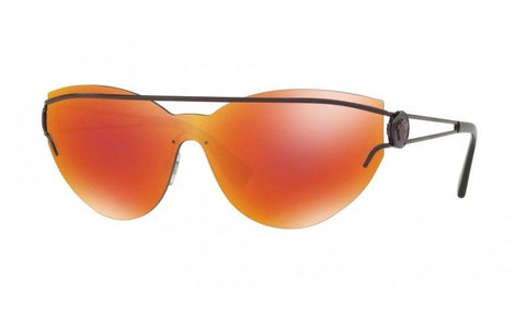Versace Women Sheild Sunglasses VE2186 14156Q Purple Frame Orange Customize Lens