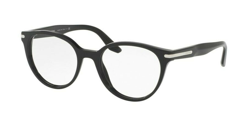 Prada Eyeglass Journal Round Style PR07TVF 1AB1O1 52- Black Frame Color