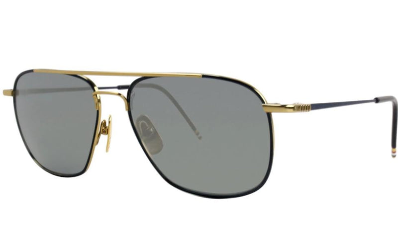 Thom Browne TB 103 C-NVY-GLD 58mm Men Sunglasses Navy Gold Mirror Aviator