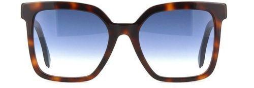 Fendi Sunglass Square Style FF0269/S 08608 54mm Blue Lens - Women Sunglass Havana Brown Frame