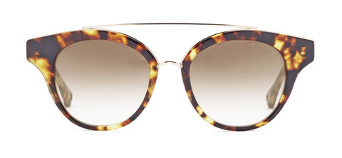 Dita Medina Round Style Sunglasses Having Tortoise/Gold Frame With Brown Gradient Lens.