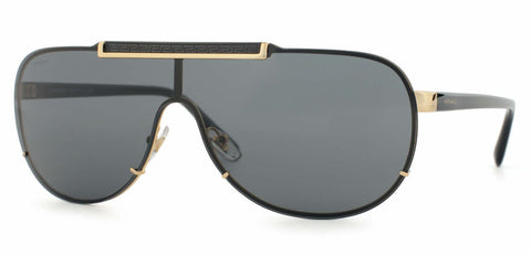 New Versace Sunglasses VE2140 1002/87 Gold Black / Grey Shield 40 mm Fast Ship