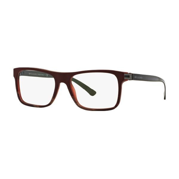 Bvlgari Men Rectangular Eyeglasses BV3028 5359 Red Frame Demo Lens