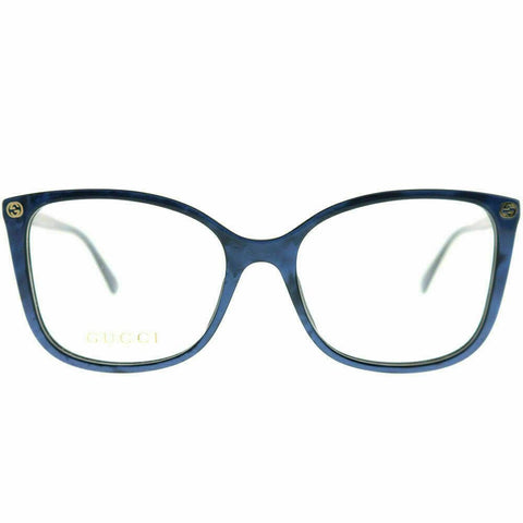 New Authentic Gucci GG0026O 005 Blue Plastic Square Eyeglasses 53mm