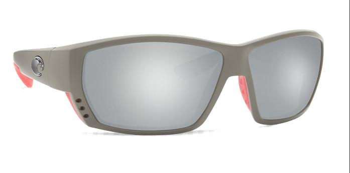 Costa Del Mar Tuna Alley Grey Silver Mirror 580G Rectangular Sunglasses TA 196