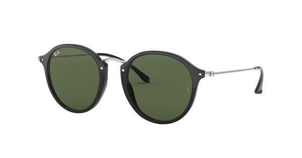 Ray-Ban RB2447 901 49 Black Round Sunglasses Green Classic G-15 Lens