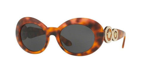 Versace Sunglasses Oval Frame Brown Mirror Lens