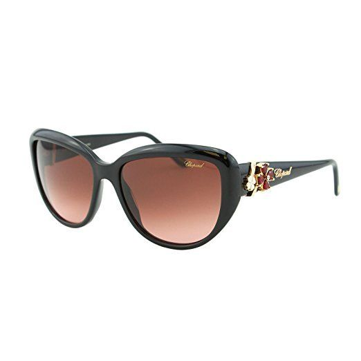 Chopard Rectangular Sunglasses SCH147S 0700 57MM Shiny Black Frame Brown Lens