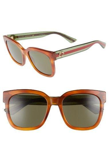 Gucci Sunglass - Square Style GG0034S 003 54MM Havana Color Women Sunglass