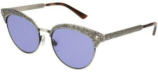 Gucci Sunglass - GG0220S 005 52 Cat Eye Style Silver Color Mirrored Lens Sunglass