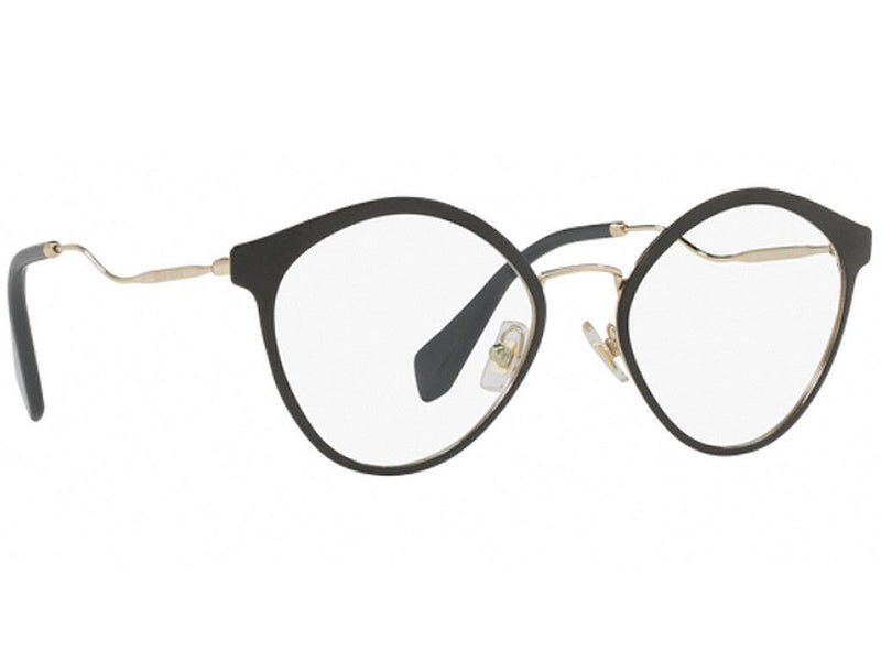 Miu Miu Eyeglass MU52QV 1AB1O1 52mm Cat Eye Style - Women Eyeglass Black/Gold Frame