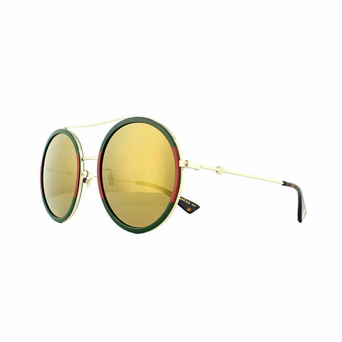 Gucci Sunglasses GG0061S 012 56 Gold Green and Red Gold Mirror