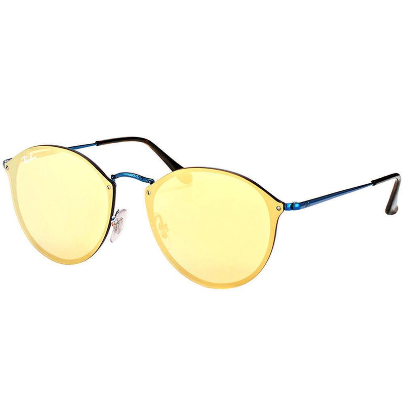 Ray Ban Blaze Round RB3574N 90387J 59mm Blue Sunglasses Orange Gold Mirror Lens