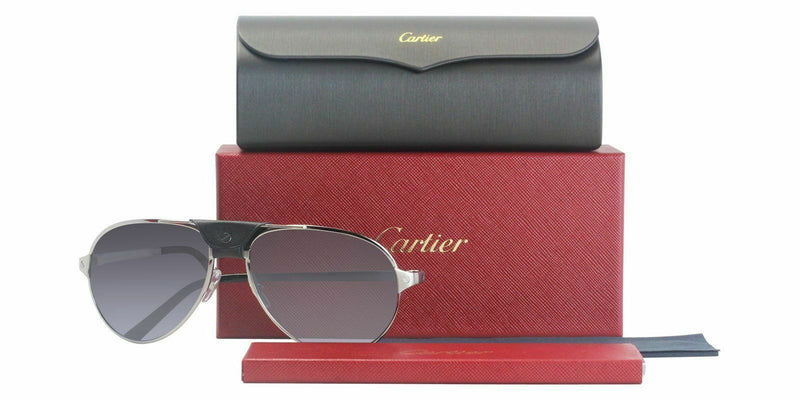 Cartier Sunglass - Santos DE CT0034S 005 61 - Aviator Style having Metal & Leather Frame - Gray Polarized Lens