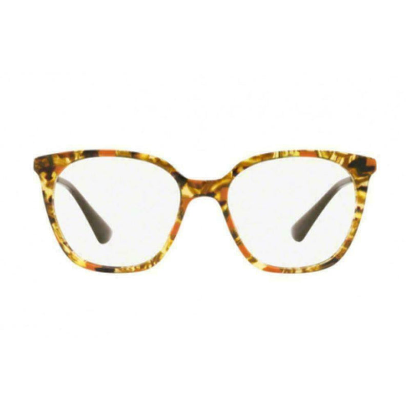 Prada Eyeglass Square Style PR11TV KJN1O1 51 | Striped Brown Orange Frame Color