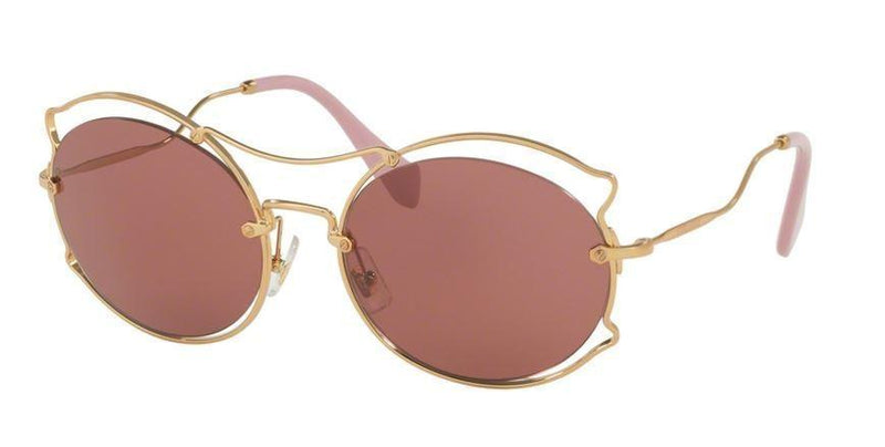 Miu Miu Sunglass MU50SS 7OE0A0 Round Style | Antique Gold Color
