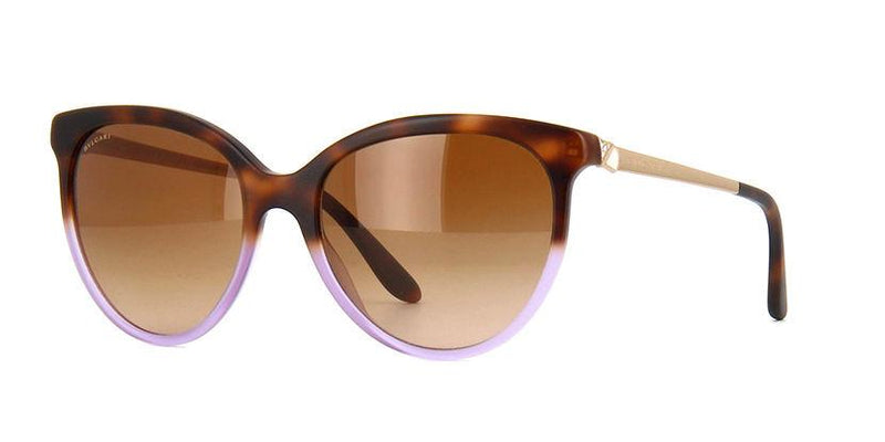 Bvlgari Sunglass - Cat Eye Style Havana/Gold Plastic Frame with Brown Gradient Lens - BV8161B 537213 56MM