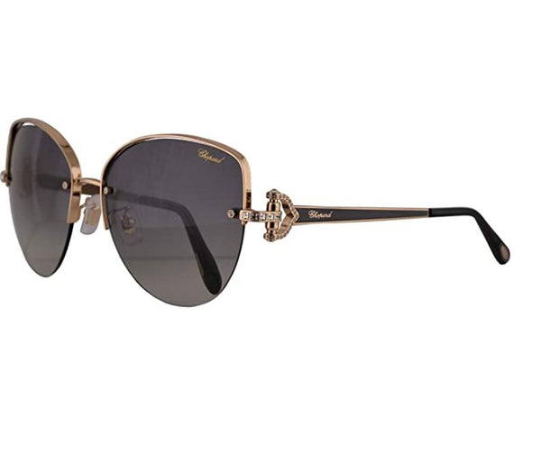 New CHOPARD Sunglasses SCHC 18S 0301 Gold Frames w/ Crystals & Grey Fade Lenses